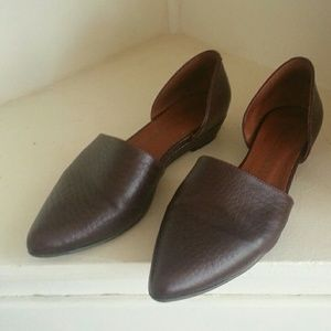Brown leather pointed d'orsay flats loafers
