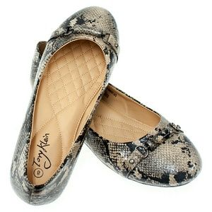 Tory K  Shoes - Women Ballerina Flats with Buckle, b-1388, Tan