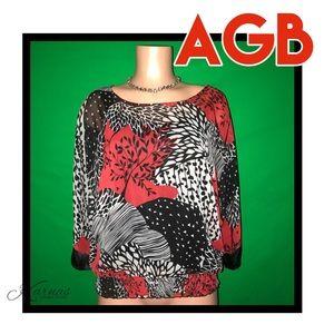 AGB Tops - AGB Chiffon & Satin Flower Print Top w/ Tank Sz LG