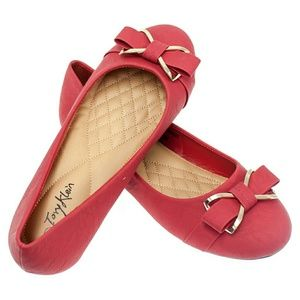 Women Ballet Flats with Bow Buckle, b-1389, Red