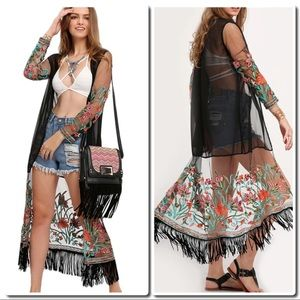 Tops - Transparent Embroidered  Long Kimono