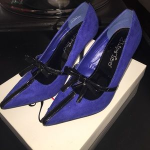 2 Lips Too Shoes - Blue suede heels size 6 by 2 Lips Too