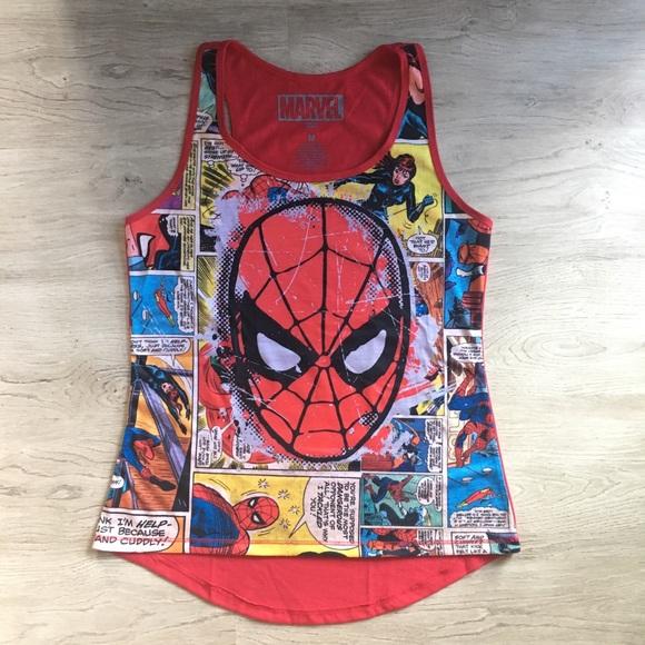 a1a9d2064df0ef Marvel Spider-Man Comic Book Tank Top 🔵. M 591f9b0cc28456d81a044a36