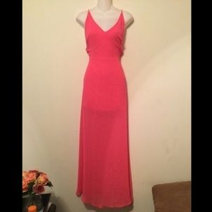 Lush Dresses & Skirts - Lush Pink open back sheer maxi dress