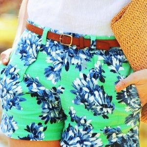 J. Crew Pants - J.Crew Green & Blue Floral Linen Pleated Shorts