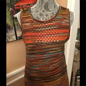 BROWN MULTI COLORED TOP WITH CLEAR SEQUINS