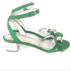 b6d7cbaee4773 Juicy Couture Shoes - Juicy Couture Green Rhinestone Strappy Sandals 8