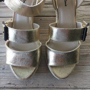 Gold Metallic Wedge Sandals