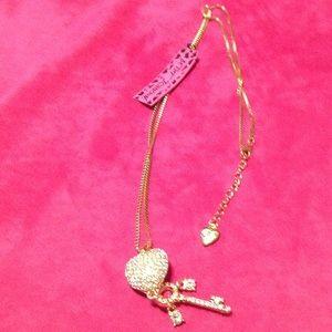 Betsey Johnson Jewelry - NWT Gold Crystal Heart Key Betsey Johnson Necklace