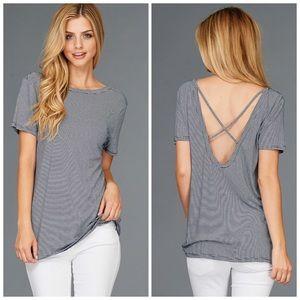 2x HP 🎉 Open Back Cross X Navy Striped Tee Shirt