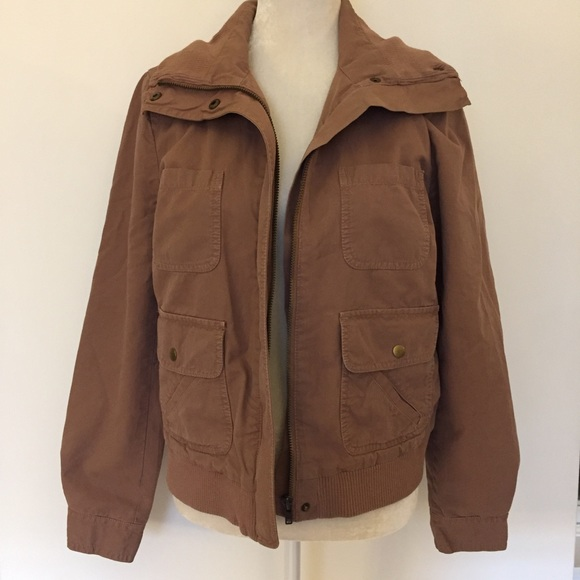 J. Crew - J Crew bomber zip snap brown cotton jacket from Bonne ...