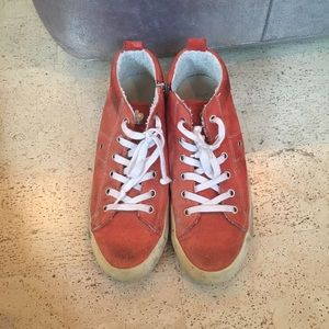 Leather Crown Shoes - Leather crown orange sneakers