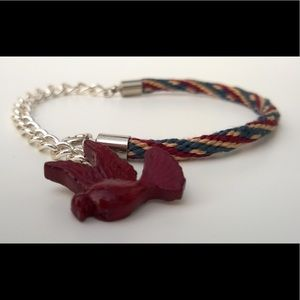 Jewelry - Handmade Kumihimo Bracelet with Bird Charm
