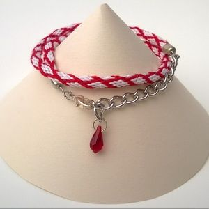 Jewelry - Handmade Kumihimo Bracelet with Swarovski Charm
