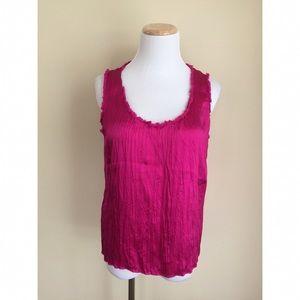Calvin Klein fuschia silk sleeveless top sz 6