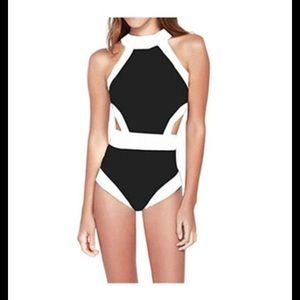 Women's Black and White One Piece Swimsuit, Large