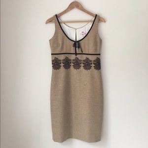 Tocca Dresses & Skirts - Tocca Tan Embroidered Wool Shift Dress Size 8