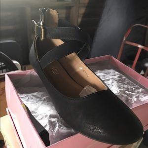 Black Ballet Style Ankle Strap Flat
