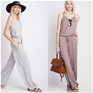 boutique Pants - WIDE LEG JUMPSUIT DRAWSTRING WAIST