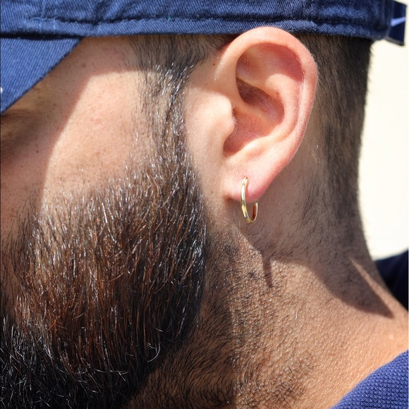 04924707e8338 Gold Plated Sterling Silver Men's Hoop Earrings Boutique