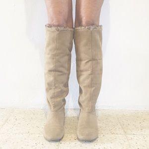 Charlotte Russe Shoes - Tan Faux Fur Boots