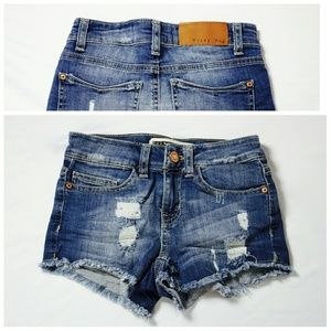 Noisy May Pants - [Noisy May] Petite Fran Distressed Denim Shorts