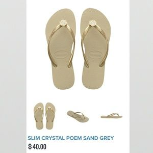 Havaianas Shoes - Havaianas Slim Crystal Poem Sand Grey Flip Flops