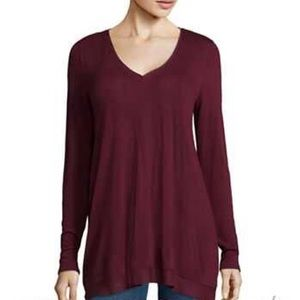 a.n.a Wine V Neck Long Sleeve Tunic Blouse NWT