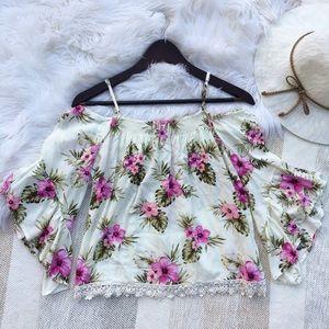 Forever 21 Tops - •F21 Cream & Pink Floral Print Cold Shoulder Top•