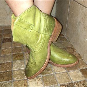 Miz Mooz Shoes - Miz Mooz Chartreuse Leather Western Booties