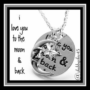 Boutique  Jewelry - I Love You to the Moon and Back Sentiment Necklace