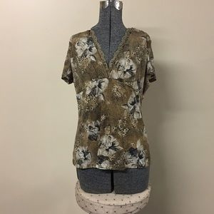 Brown Floral Top Lace & Beaded Neckline Large Top