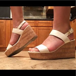 White and tan wedge heels