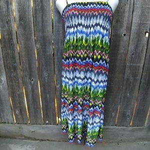 Christina Love Dresses & Skirts - Multi Color Ruched Spaghetti Strap Sundress Sz XL