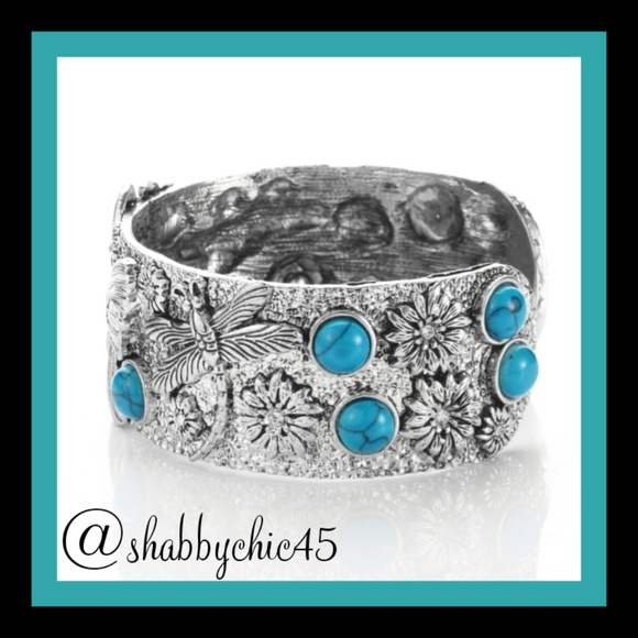 Boutique Jewelry - Southwestern Turquoise Butterfly Cuff Bracelet