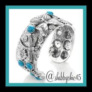 Boutique Jewelry - Southwestern Turquoise Butterfly Cuff Bracelet