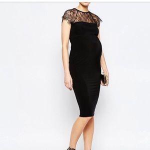 ASOS Maternity Lace Bodycon Midi Dress - Black
