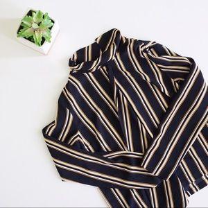 Topshop Tops - Topshop Striped Wrap Front Mockneck Blouse