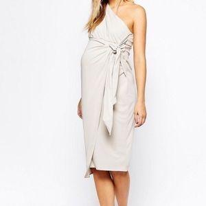 ASOS Dresses & Skirts - ASOS Drape Knot Front One Shoulder Midi Dress