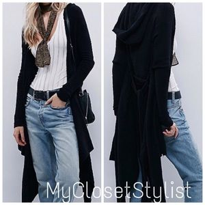 Free People RARE BLACK Hooded Belted Hi-Low Jacket