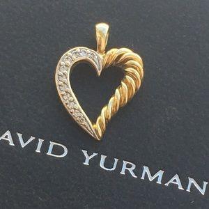 David Yurman Jewelry - David Yurman 18K Gold Diamond Heart Pendant