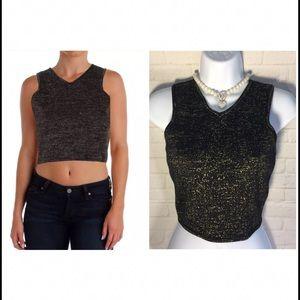 JOA Tops - Women's crop top small black metallic gold NWT