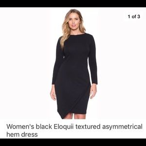 Eloquii textured asymmetrical hem dress
