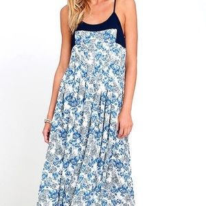Lulus Dresses & Skirts - Blue Floral Print Maxi Dress