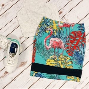 Asos Mini Skirt In Flamingo Print With Sheer Hem