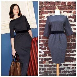 Boden 10P Gray Black Ponte Knit Lana Sheath Dress