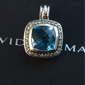 David Yurman Jewelry - David Yurman 11mm Albion Blue Topaz Pendant