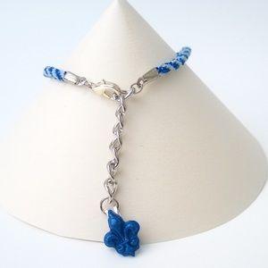 Jewelry - Handmade Blue Fleur-de-lis Kumihimo Bracelet