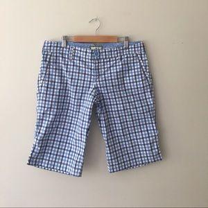 AEO Blue Plaid Cotton Bermuda Shorts