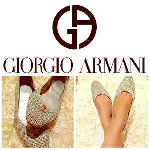 Giorgio Armani Shoes - 💙Giorgio Armani Baby Blue Woven Ballet Flats